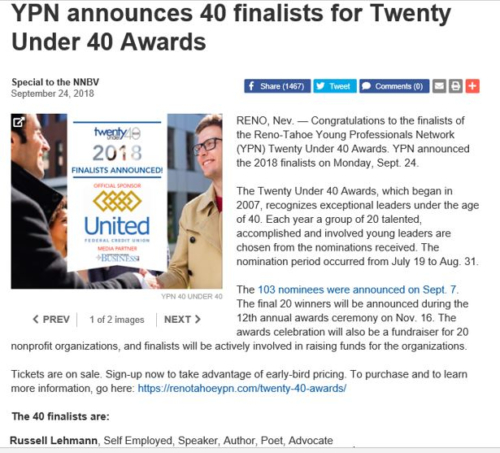 "Finalist for Reno-Tahoe ""20 Under 40"" Awards - September 2018"