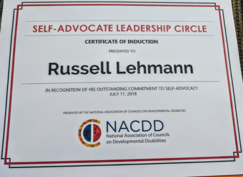 Induction into the Self-Advocate Leadership Circle - July, 2018, Washington, D.C.